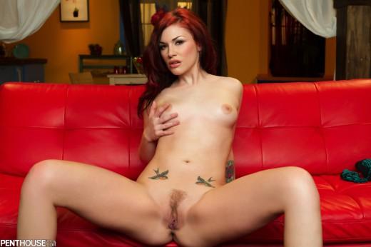 naked Andy San Dimas shows her tats