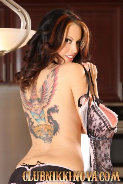 Nikki Nova shows her big back tattoo