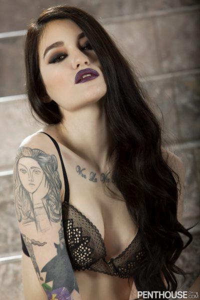 Ari Dee shows her arm tattoo