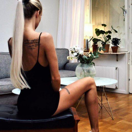 Michaela Hellström Lundmark shows her shoulder tattoo