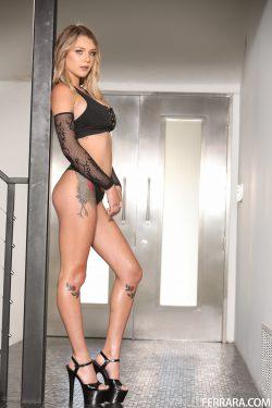 Gabbie Carter shows her hip and knee tattoos